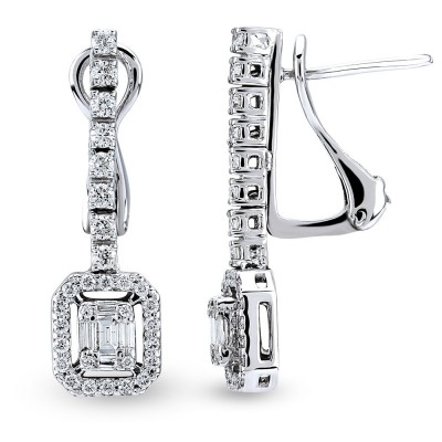 Cercei cu diamante bagheta