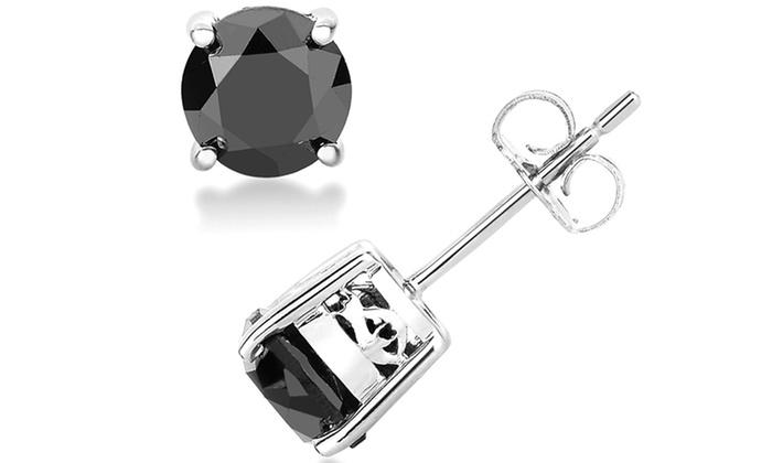 Cercei cu diamante negre
