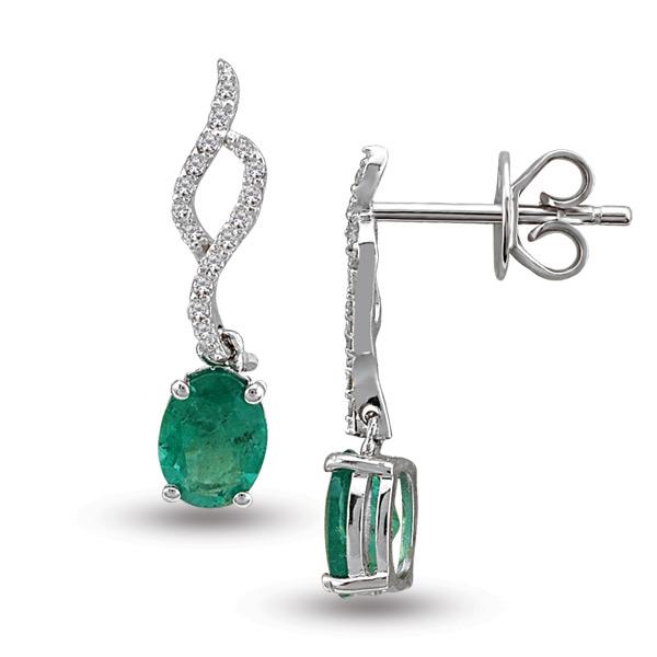 Cercei cu smarald si diamante