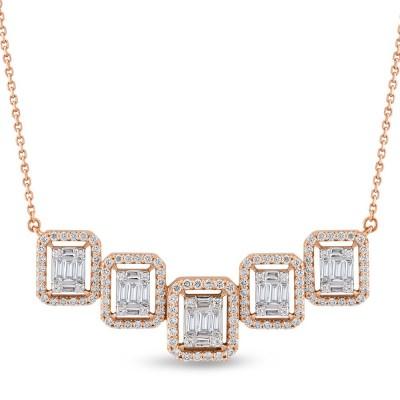 Colier cu diamante bagheta