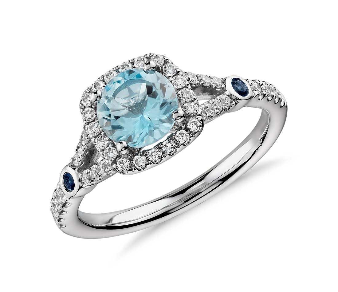 Inel cu Aquamarine si Diamante