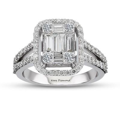 Inel cu diamante bagheta