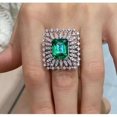 Inel cu Diamante si Green Citrine