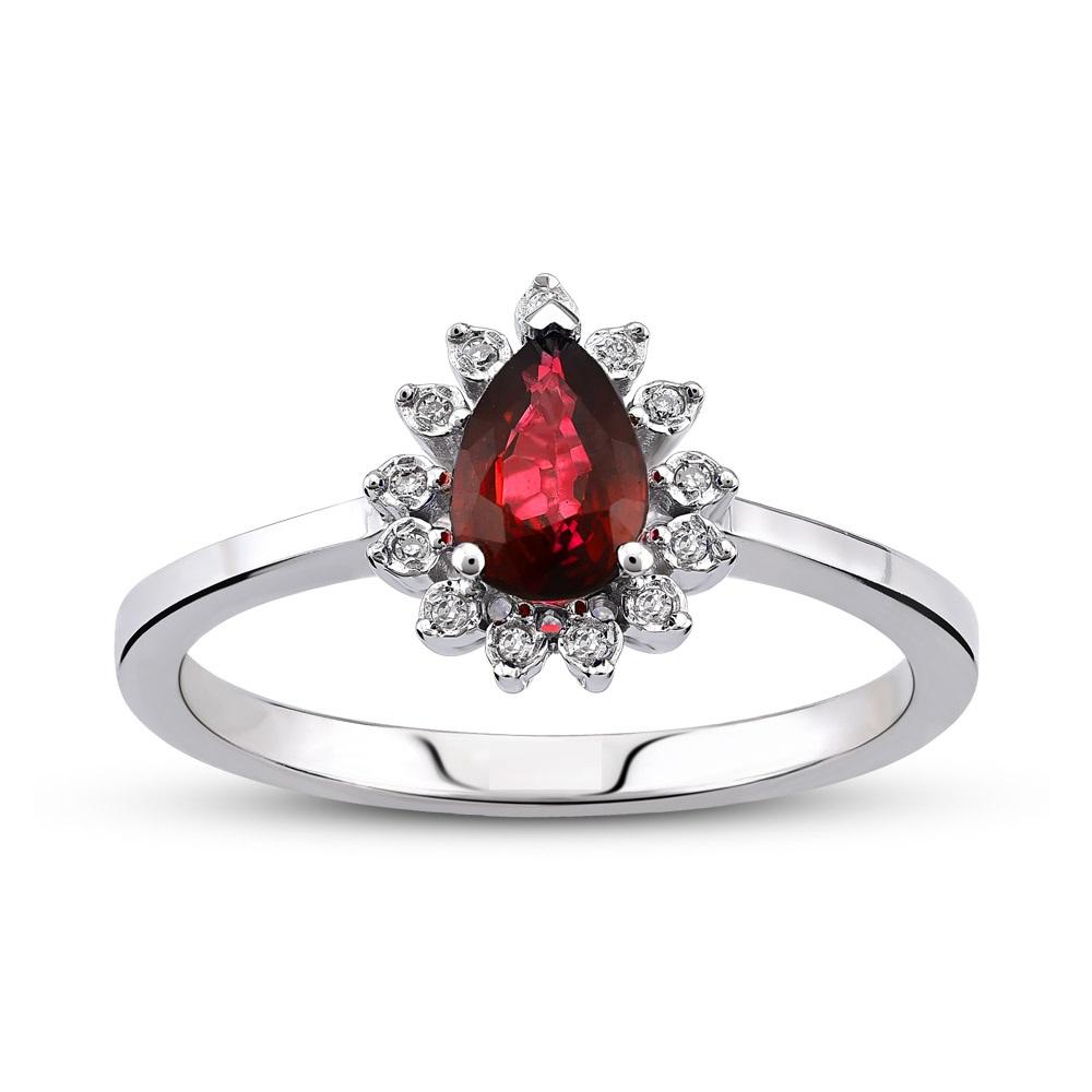 Inel cu Granat si Diamante