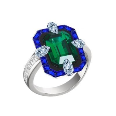 Inel cu smarald, safire si diamante